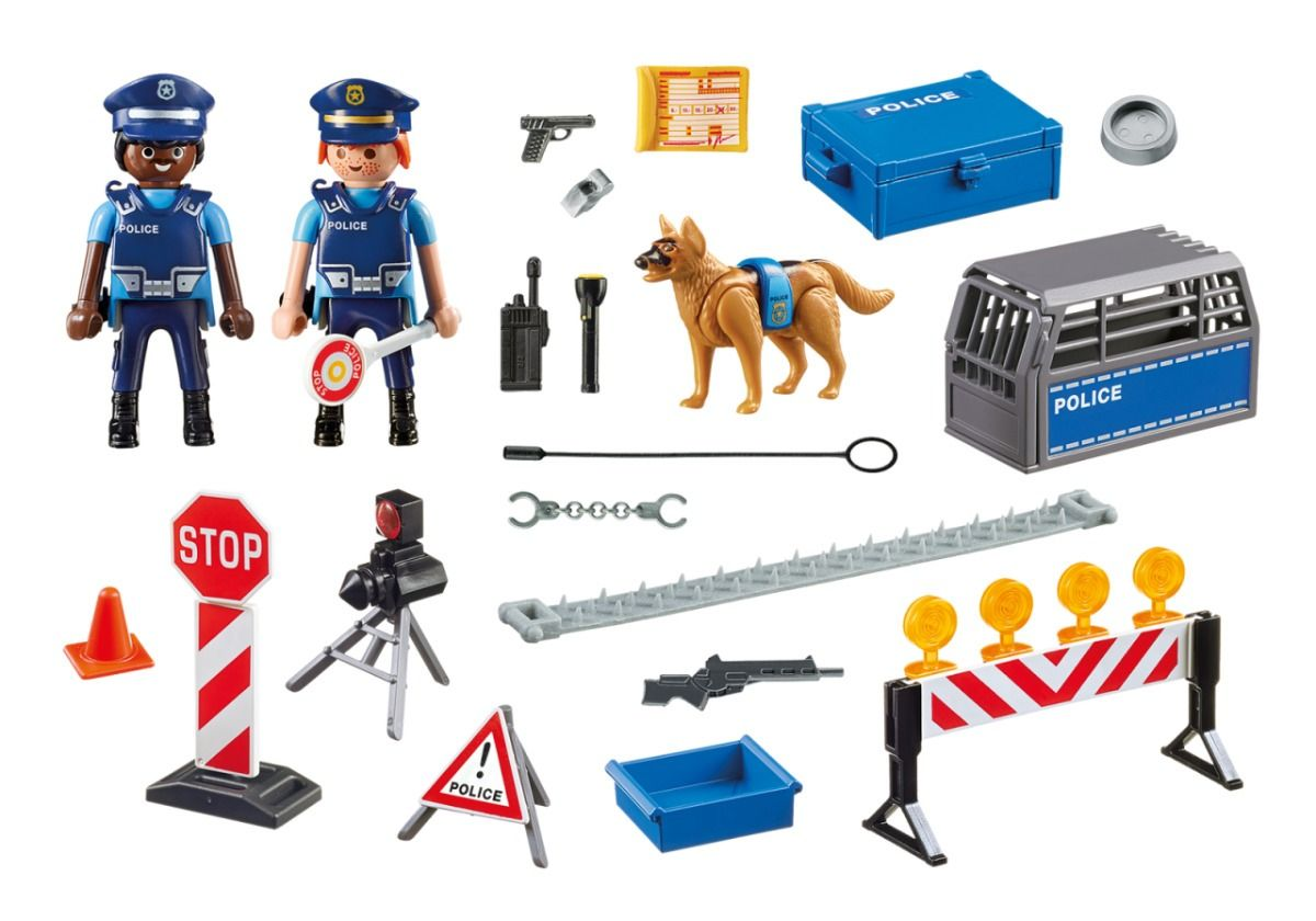 Playmobil City Action Unidade Policial de Bloqueio com Cão - Sunny   - Doce Diversão