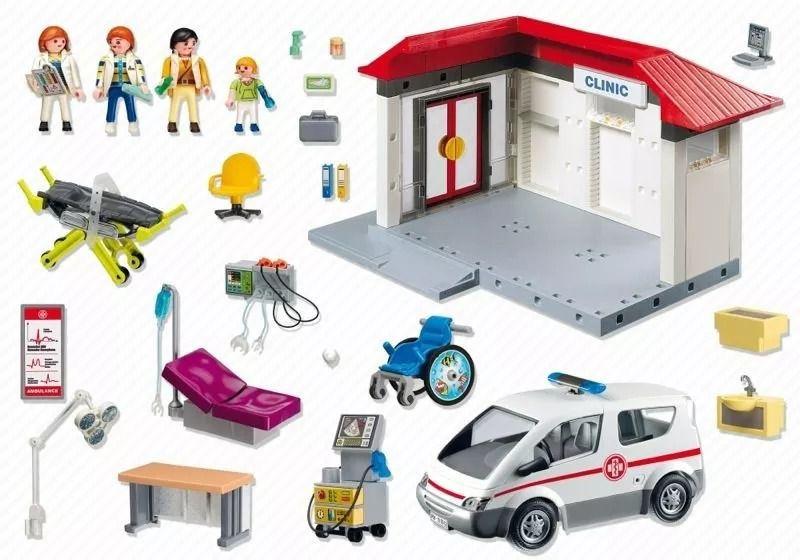 Playmobil City Life Centro Médico Com Ambulância e 4 bonecos - Sunny  - Doce Diversão