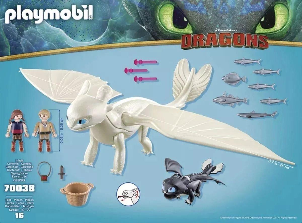 Playmobil - Como Treinar Seu Dragão 3 - Furia Da Luz, Dragão Bebê e Crianças – 16 peças  - Doce Diversão