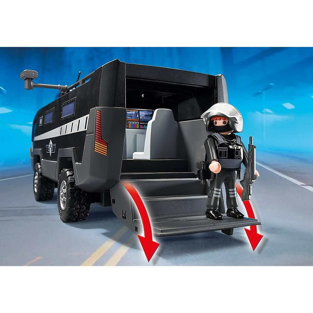 Playmobil Veiculo de Comando Unidade Tatica da Policia Com luz e Som - Sunny  - Doce Diversão
