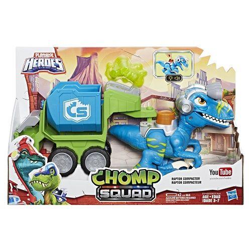 Playskool Chomp Squad Dino Trailer Raptor C/ Som e Luz - Hasbro   - Doce Diversão