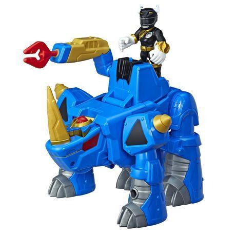 Playskool Power Rangers Sabans - Black Ranger e Rhino Zord Converte 2 em 1  - Hasbro  - Doce Diversão