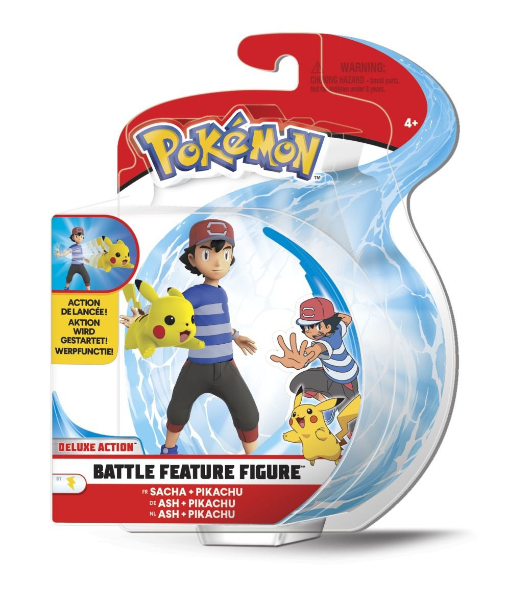 Pokémon Boneco De Batalha Arremessa 11cm Ash E Pikachu DTC  - Doce Diversão
