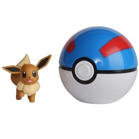 Pokémon Clip N Go Pokébola Com Clip - Eevee e Super Ball Dtc   - Doce Diversão