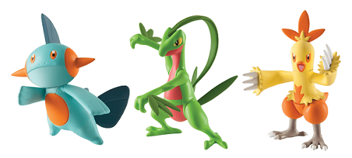 Pokémon Pack 3 bonecos  Grovyle - Combusken - Marshtomp - Tomy   - Doce Diversão