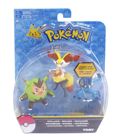 Pokémon Pack 3 bonecos Quilladin - Braixen -Frogadier Tomy  - Doce Diversão