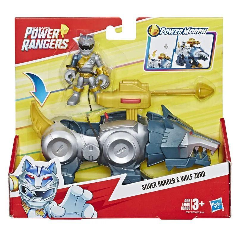 Power Rangers Sabans Playskool –Ranger Prata e Wolf Zord - Hasbro  - Doce Diversão