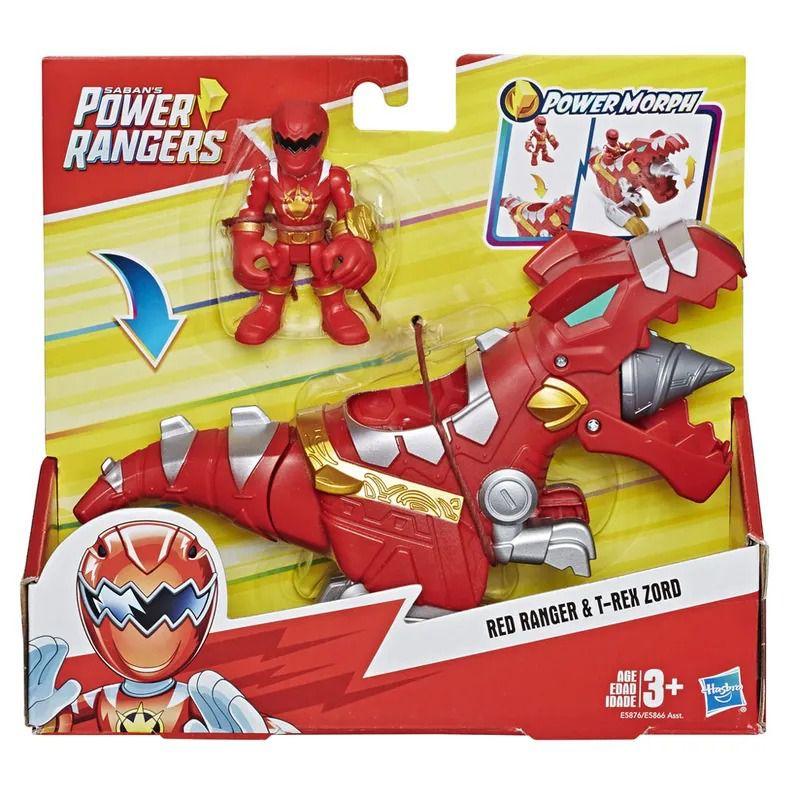Power Rangers Sabans Playskool –Ranger Vermelho e T-Rex Zord - Hasbro  - Doce Diversão
