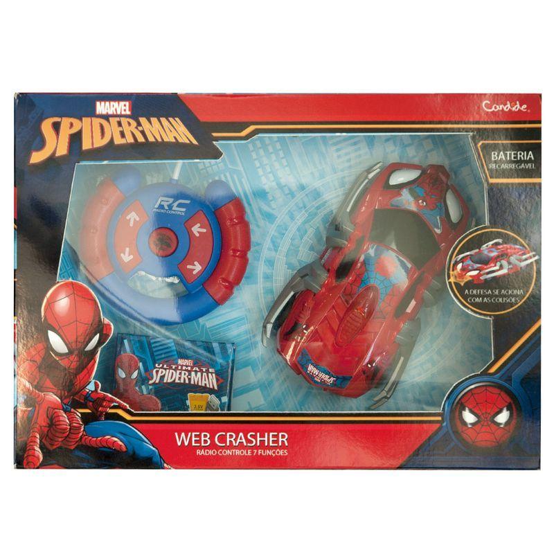 R/C Carrinho de Controle Remoto Spiderman  Web Crasher - Candide  - Doce Diversão