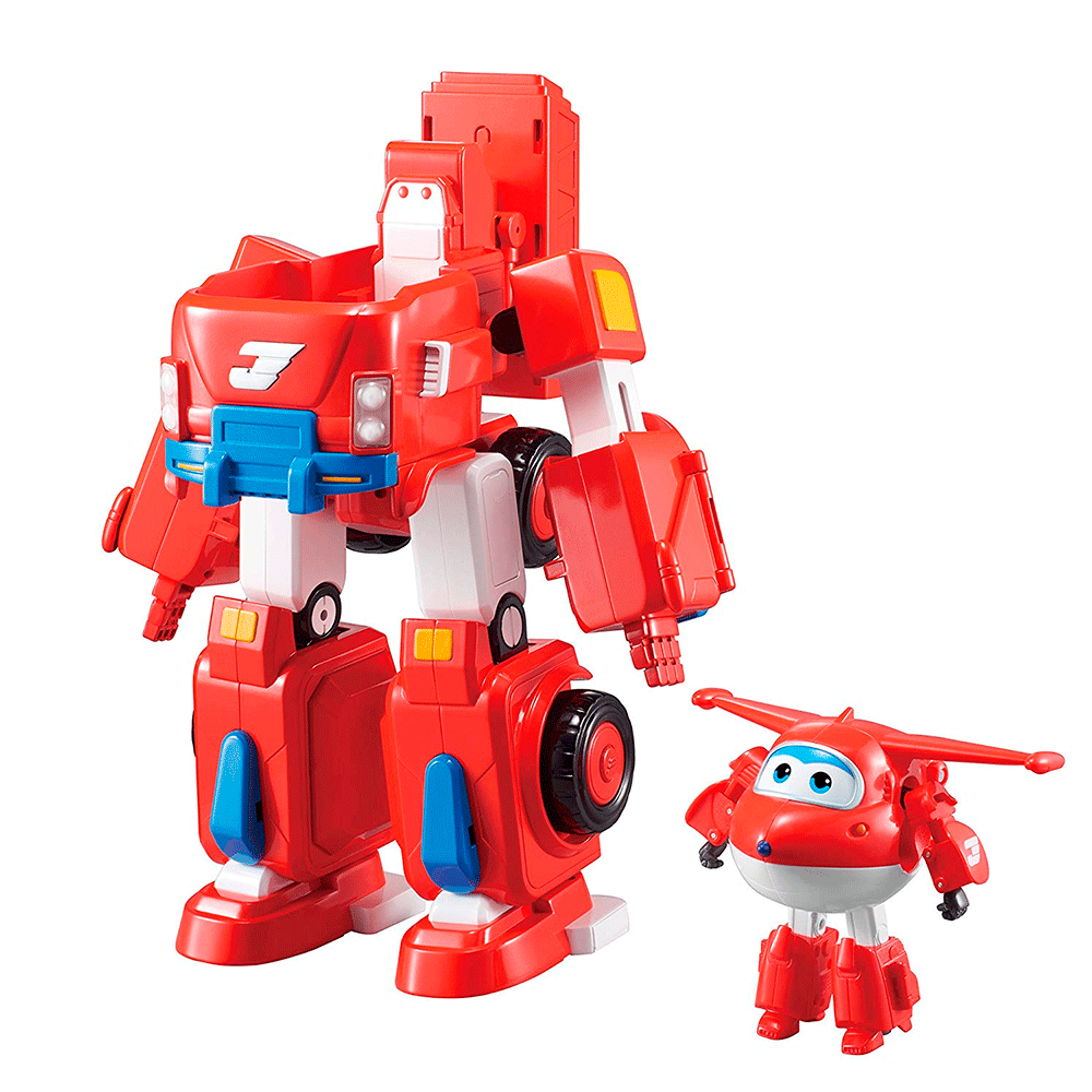 Super Wings Transforms Jett Super Robô 32 cm C/ Som e Luz - Fun - Doce Diversão