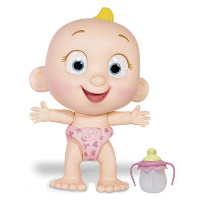 Tiny Tots Boneca Interativa – mamadeira e Fralda Rosa - Candide  - Doce Diversão