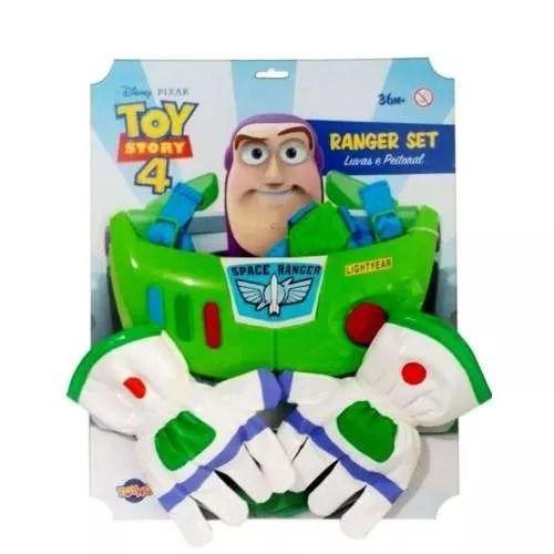 Toy Story 4 - Kit Faz de Conta Buzz Lightyear Com Luvas e Peitoral - Toyng   - Doce Diversão