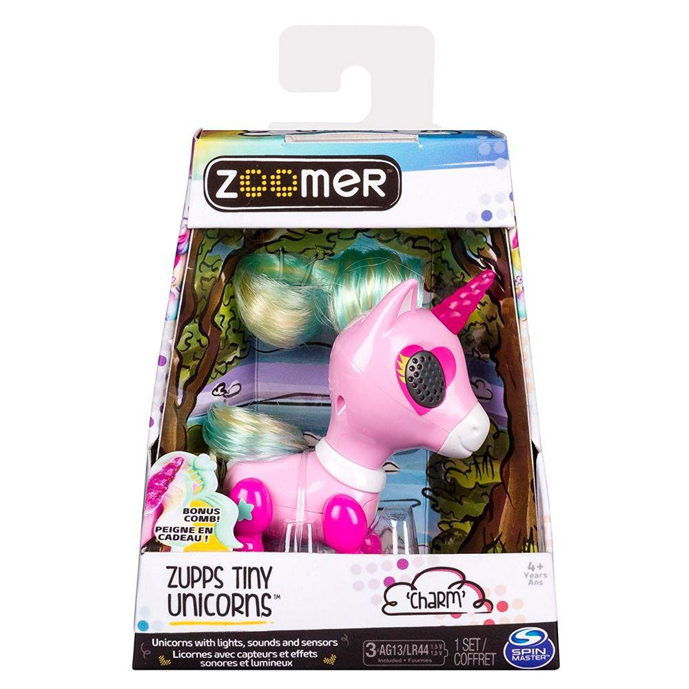 Unicórnio Charm - Zoomer Zupps Tiny Luz E Sons Interativo  Sunny  - Doce Diversão