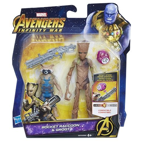 Vingadores Guerra Infinito Rocket e Groot Deluxe C/ joia  Hasbro  - Doce Diversão