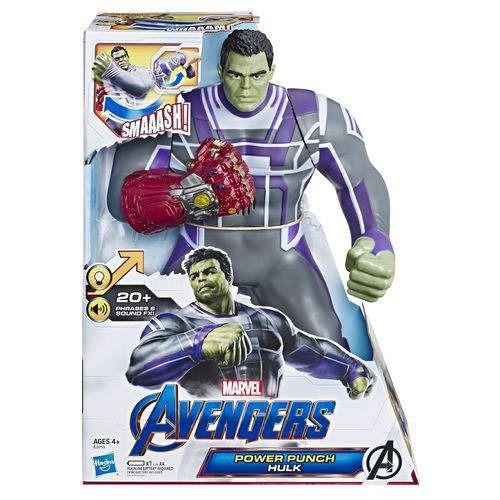 Vingadores Ultimato Hulk Power Punch Eletrônico Luxo 35 cm Com Som e Luz - Hasbro  - Doce Diversão