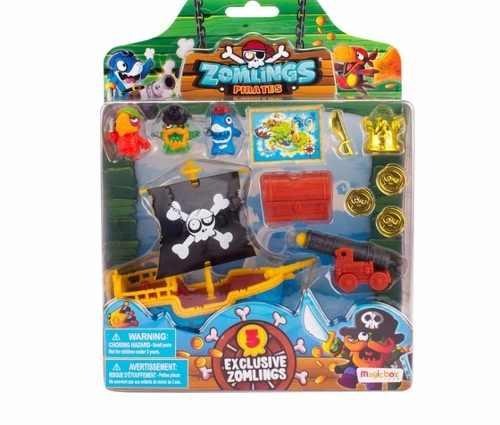 Zomlings Playset Navio Pirata Zombie + 3 Zomlings Exclusivos - Fun   - Doce Diversão
