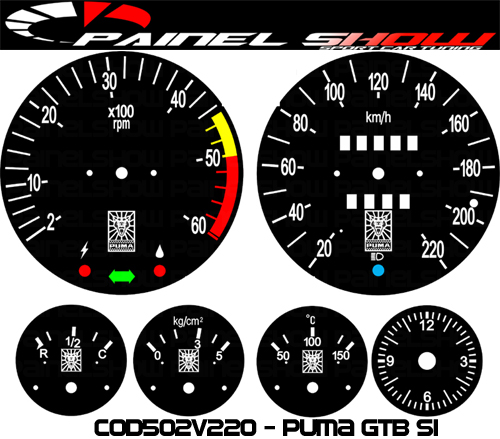 Kit Translúcido p/ Painel - Cod502v220 - Puma GTB S1  - PAINEL SHOW TUNING - Personalização de Painéis de Carros e Motos