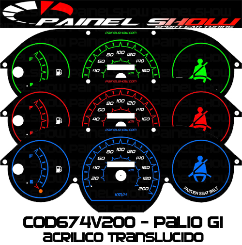 Kit Translúcido p/ Painel - Cod674v200 - Palio Siena Strada Antigo G1  - Loja - Painel Show Tuning