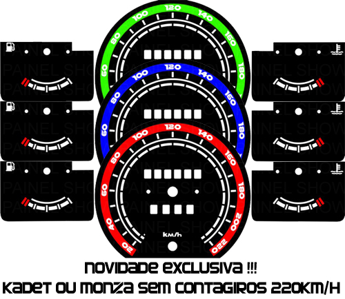 Kit Acrilico p/ Painel - Cod640v220 - Monza / Kadet ou Ipanema  - PAINEL SHOW TUNING - Personalização de Painéis de Carros e Motos