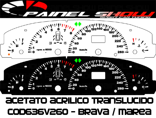 Kit Translucido p/ Painel - Cod636v260 - Brava Marea 260km/h com Check-Control  - Loja - Painel Show Tuning