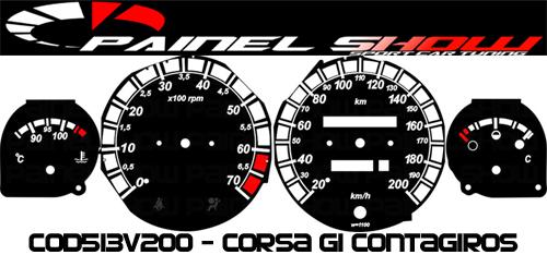 Kit Translúcido p/ Painel - Cod513v200 - Corsa com Contagiro  - PAINEL SHOW TUNING - Personalização de Painéis de Carros e Motos