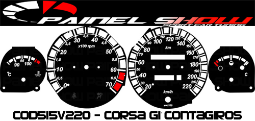 Kit Translúcido p/ Painel - Cod515v220 - Corsa com Contagiros  - PS TUNING
