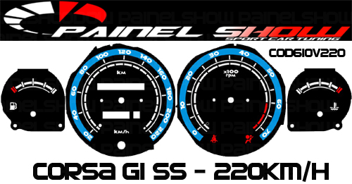 Kit Translucido p/ Painel - Cod610v220 - Corsa Antigo com Contagiros  - PAINEL SHOW TUNING - Personalização de Painéis de Carros e Motos