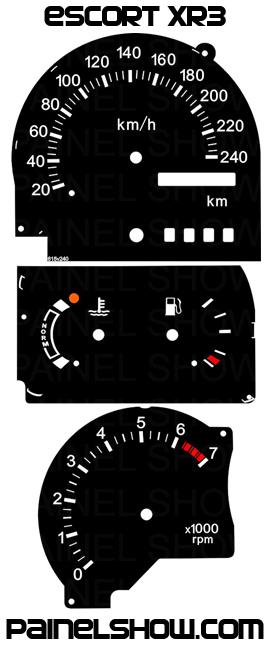 Kit Translúcido p/ Painel - Cod615v240 -  Escort Xr3 1993 a 1995  - PAINEL SHOW TUNING - Personalização de Painéis de Carros e Motos
