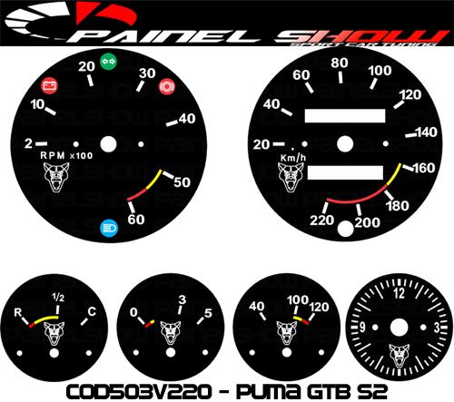Kit Translúcido p/ Painel - Cod503v220 - Puma GTB S2  - PAINEL SHOW TUNING - Personalização de Painéis de Carros e Motos