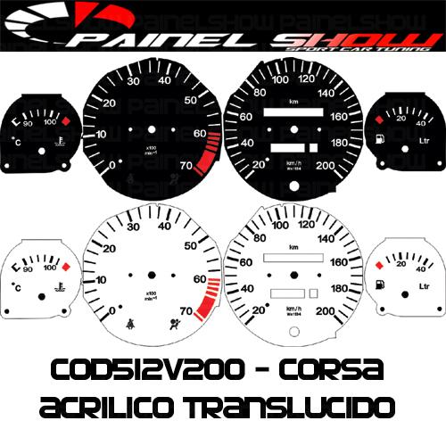 Kit Translúcido p/ Painel - Cod512v200 - Corsa com Contagiros  - PAINEL SHOW TUNING - Personalização de Painéis de Carros e Motos