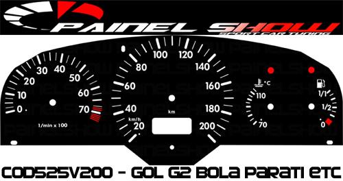 Kit Translúcido p/ Painel - Cod525v200 - Gol Bola G2 Contagiros - Compativel apenas com Magnetti Marelli  - PAINEL SHOW TUNING - Personalização de Painéis de Carros e Motos
