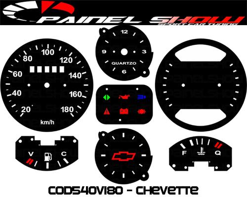 Kit Translúcido p/ Painel - Cod540v180 - Chevette Painel Vdo  - PAINEL SHOW TUNING - Personalização de Painéis de Carros e Motos