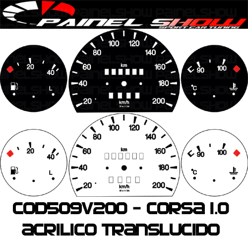 Kit Translúcido p/ Painel  - Cod509v200 - Corsa sem Contagiros  - PAINEL SHOW TUNING - Personalização de Painéis de Carros e Motos