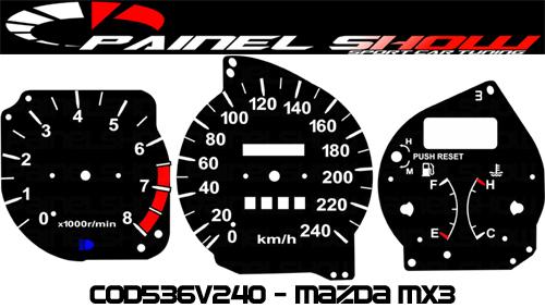 Kit Translúcido p/ Painel - Cod536v240 - Mazda Mx3  - PAINEL SHOW TUNING - Personalização de Painéis de Carros e Motos