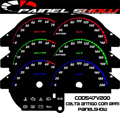 Celta até 2006 Cod547v200  Mostrador Tuning Acetato Translucido p/ Personalização de Painel - Show !   - PAINEL SHOW TUNING - Personalização de Painéis de Carros e Motos