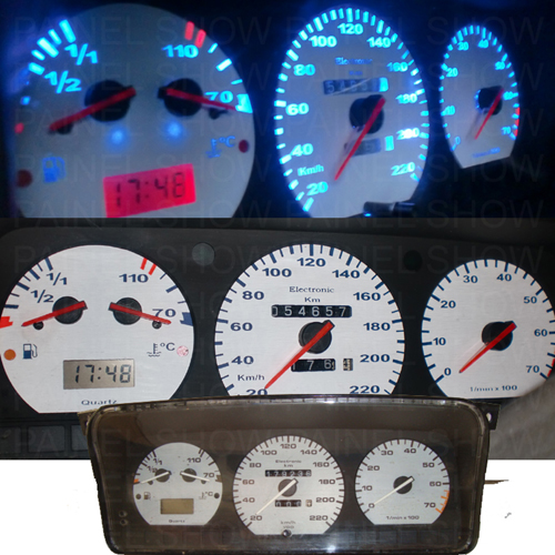 Kit Translúcido p/ Painel - Cod557v220 - Santana 92 a 97 c/ Relogio de Horas  - PAINEL SHOW TUNING - Personalização de Painéis de Carros e Motos