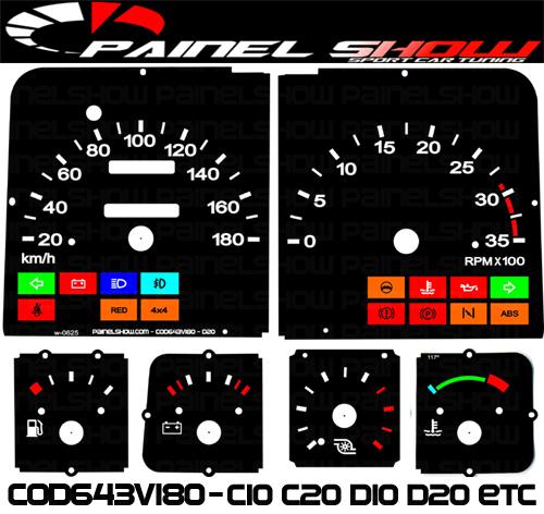 Kit Translúcido p/ Painel - Cod643v180 - C10 C20 D10 D20 Turbo  - PAINEL SHOW TUNING - Personalização de Painéis de Carros e Motos