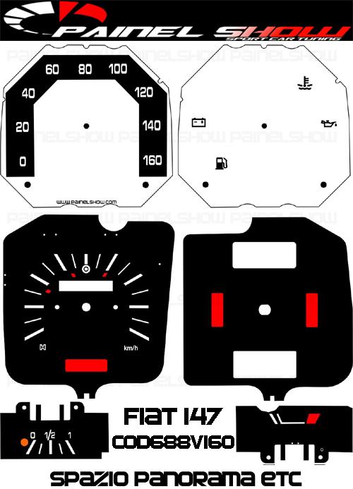 Kit Translucido p/ Painel - Cod688v160 - Fiat 147 Spazio Panorama  - PAINEL SHOW TUNING - Personalização de Painéis de Carros e Motos