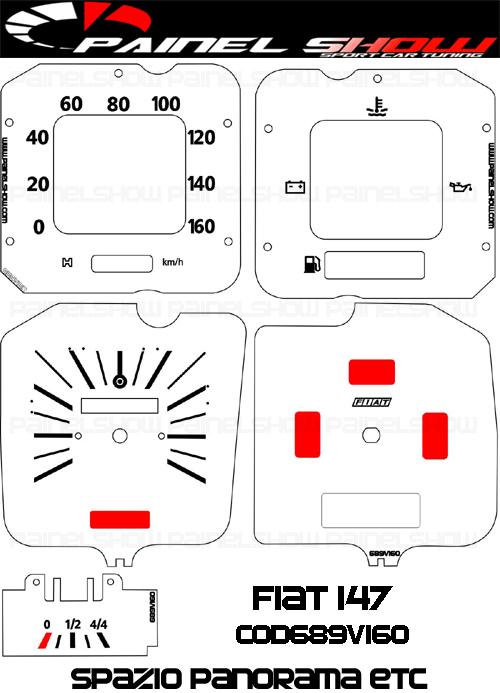 Kit Translucido p/ Painel - Cod689v160 - Fiat 147 Spazio Panorama  - PAINEL SHOW TUNING - Personalização de Painéis de Carros e Motos