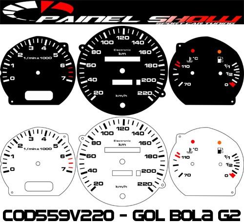 Kit Translúcido p/ Painel - Cod559v220 - Gol Bola G2 95 a 97 Contagiros  - PAINEL SHOW TUNING - Personalização de Painéis de Carros e Motos