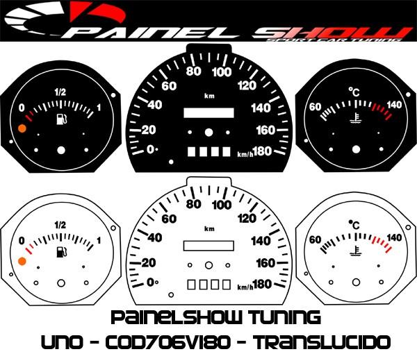 Kit Translucido p/ Painel - Cod706v180 - Uno Fiorino com Temperatura  - PAINEL SHOW TUNING - Personalização de Painéis de Carros e Motos