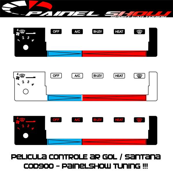 Cod900 - Pelicula do Controle de Ar Ventilação - Gol Parati Saveiro Santana Voyage Painel Show - Acetato Translucido Painelshow  - PAINEL SHOW TUNING - Personalização de Painéis de Carros e Motos