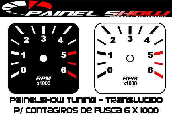 Contagiros Fusca modelo 6000 RPM - Placa do Mostrador Translucido p/ Cod570v160   - PS TUNING