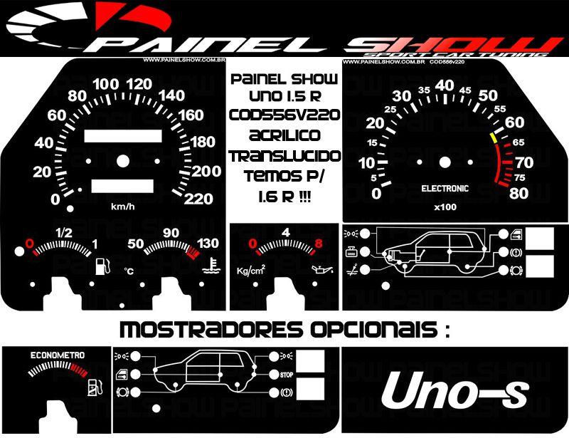 Kit Translúcido p/ Painel - Cod556v220 - Uno 1.5r 1.6r 220km Contagiros  - PAINEL SHOW TUNING - Personalização de Painéis de Carros e Motos