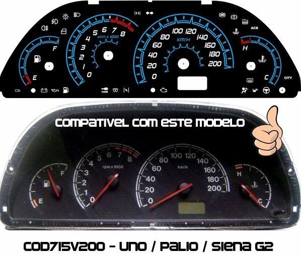 Palio Uno Siena Cod715v200 Translucido P/ Painel + Led Show  - PAINEL SHOW TUNING - Personalização de Painéis de Carros e Motos
