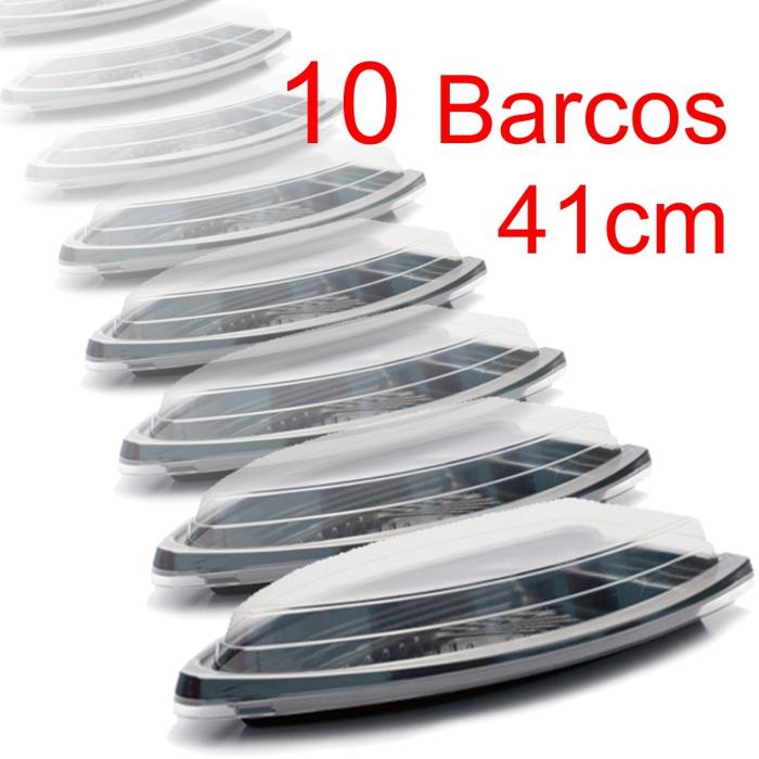 Barco Descartável c/tampa 41 x 21 cm 1,5 l Kit c/10 pcs