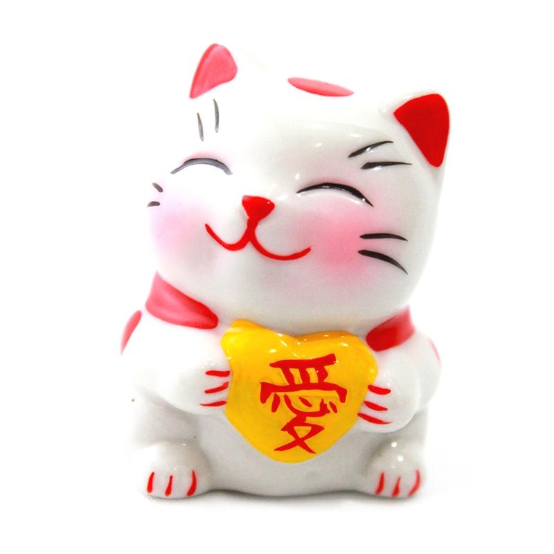 Gato Makekineko Coração Amarelo 5,5cm