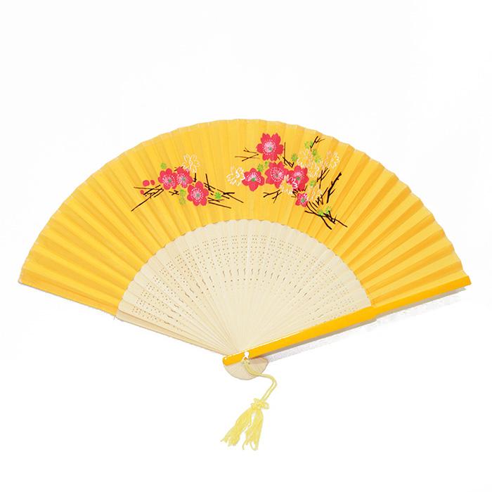 Leque Tecido Bambu Amarelo 23 cm