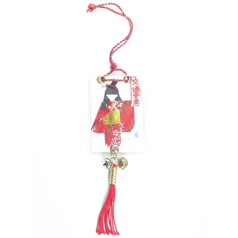 Amuleto Kokeshi Origami Vermelho 5 x 7 cm