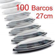 Barco Descartável c/tampa 27 x 15 cm 600 ml Kit c/ 100 pcs
